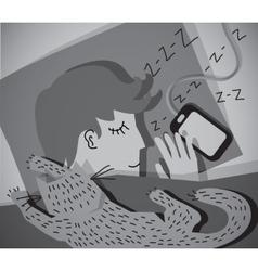 Sleeping young man with cat grayscale vector image vector image