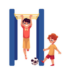 two boys playing football and hanging on monkey vector image vector image