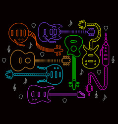 guitar in neon colors on a black back vector image vector image