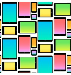 Seamless Pattern made with Mobile Devices colorful vector image