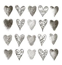 set of hand drawn heart vector image