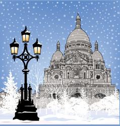 snowy paris city landmark winter christmas vector image vector image