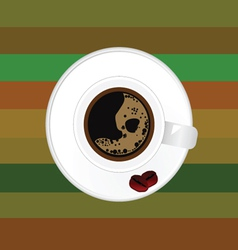 cup of coffee with two bean vector image
