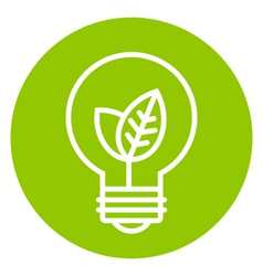 Ecology light bulb icon in green circle vector image vector image
