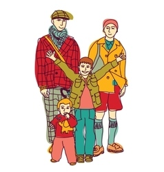 Homosexual gay lgbt family couple and kids vector image