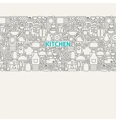 Kitchen Utensils Line Art Seamless Web Banner vector image