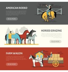 Popular Horses Breeds Horizontal Banners Set vector image vector image