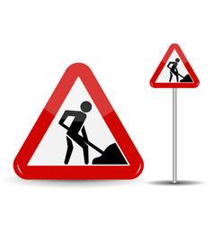 road sign warning road works in the red triangle vector image vector image
