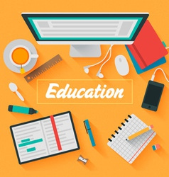 Trendy Flat Design Education vector image