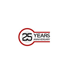 25 years anniversary with circle outline red vector