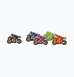 5 motorcycle racing team side view graphic vector image