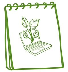 A notebook with a sketch of a laptop at the cover vector image