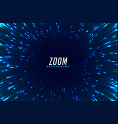 Abstract blue glowing zoom effect background vector
