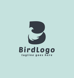 Abstract initial letter b combined with bird vector
