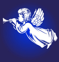 angel flies and plays trumpet religious vector image