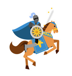 armed knight riding horse medieval character vector image