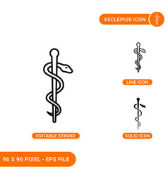 Asclepius icons set with solid icon line style vector