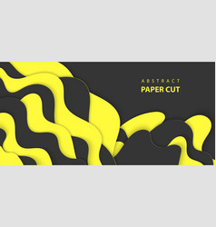 Background with black and yellow color paper cut vector