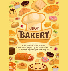 bakery shop cakes patisserie pastry desserts menu vector image
