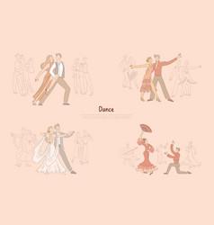 Ballroom dancers performance graceful couples vector