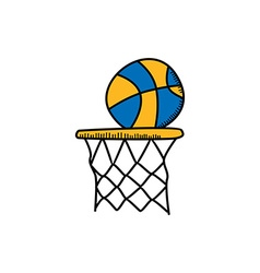 basketball cartoon icon theme vector image