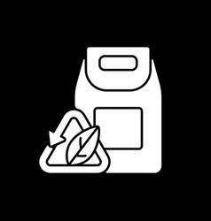 biodegradable packaging dark mode glyph icon vector image