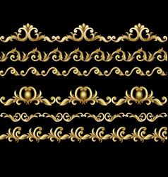 border with golden baroque elements vector image