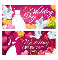 bride and groom wedding rings hearts gifts vector image