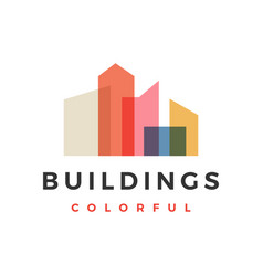 building city skyline colorful overlay logo icon vector image