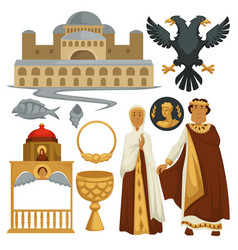 Byzantium history symbols heraldry architecture vector