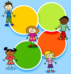 Cartoon kids and color circles vector image