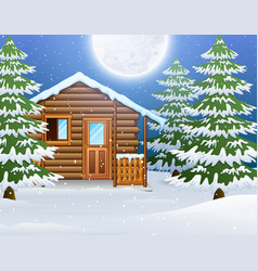 Cartoon of christmas wooden house with fir trees vector