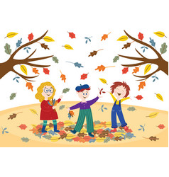 cheerful children playing outdoors in autumn park vector image