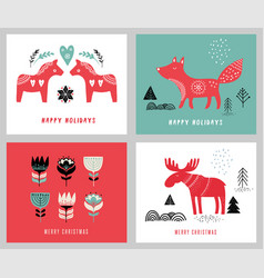 Christmas holidays greeting cards vector