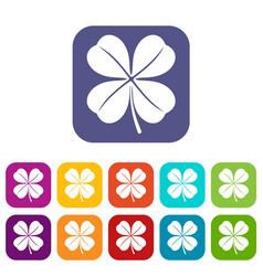 Clover leaf icons set vector
