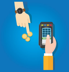 coin transaction payment method hand holding vector image