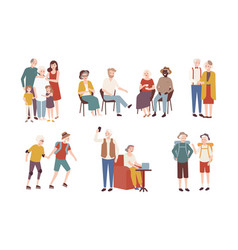 Collection of happy elderly people performing vector