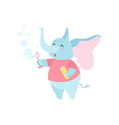 Cute elephant cartoon character blowing soap vector