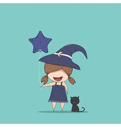 Cute witch holding the star-shaped vector