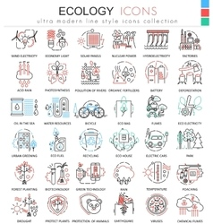 Ecology color line outline icons for apps vector