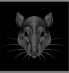 Engraving stylized silver rat portrait on black vector
