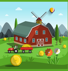 farm cartoon with tractor building and mountains vector image