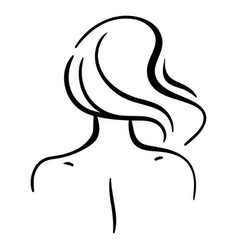 Fashion portrait woman head from back vector