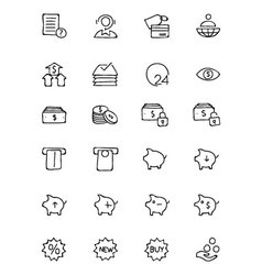 Finance Hand Drawn Doodle Icons 10 vector image