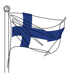 finland flag one continuous line abstract icon vector image