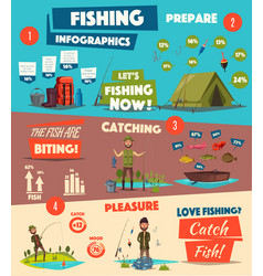 Fishing sport and camping infographic design vector
