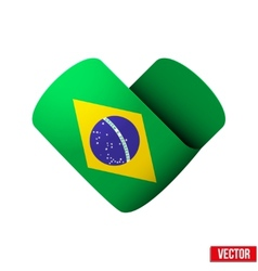 Flag icon in the form of heart I love Brazil vector
