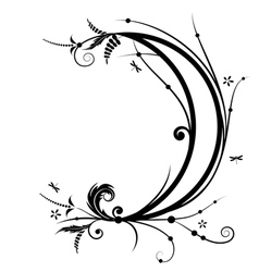 Flower and new moon vector