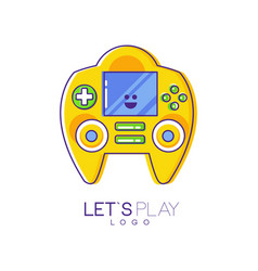 Game console with screen and buttons electronic vector