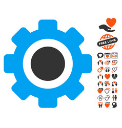 gear icon with valentine bonus vector image vector image